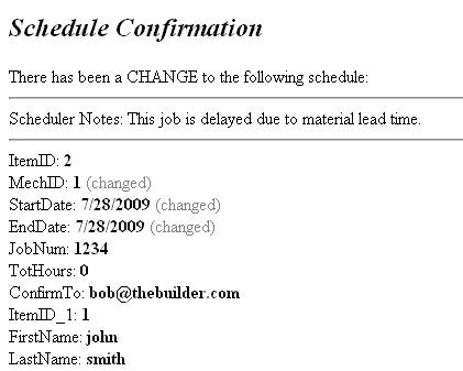A sample of a schedule confirmation email for a schedule change.